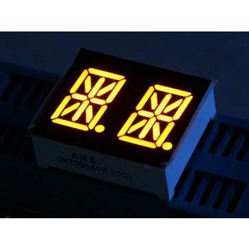 Segmento alfanúmerico doble, segmento de 14 LED - Ámbar 0.54 pulgadas de cátodo común