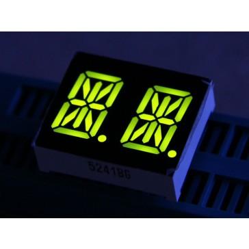 LED Segmento de 14 doble alfanúmerico -Amarillo Verde 0.54 pulgadas