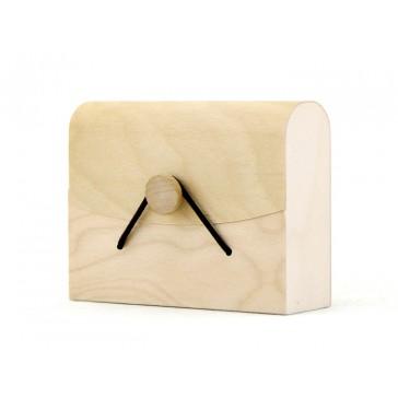 Estuche de madera de bajo peso con cordón - 100x80x34 mm