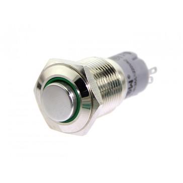 16mm Botón de iluminación momentanea de metal - LED verde