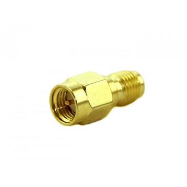 Adaptador RF. Conector de barril RP-SMA  entrada SMA version corta-recta.